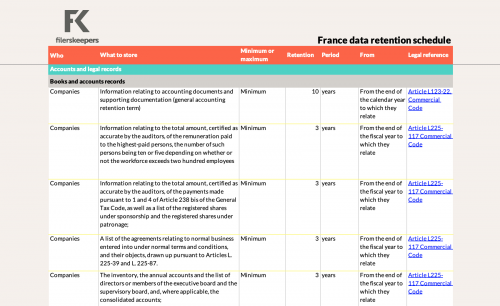filerskeepers France accounts and legal records retention