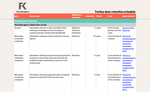 filerskeepers Turkey real estate records retention